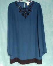 Ladies Silk Dress UK 12 Navy Shift Bead Embellished Neck Jewelled Sheer Sleeves