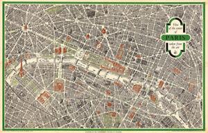 View of the Center of Paris 1959 Vintage Map Huge Art Print