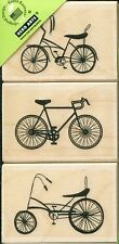 "3 BicyclesTrio  LP202  2"" x 1.5"" ea Hero Arts Rubber Stamps w/m Free Ship  NEW"