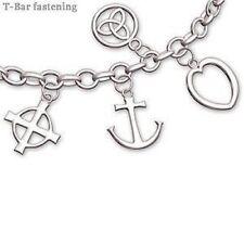 Sterling Silver Faith Hope Love Charm Bracelet