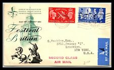 Gp Goldpath: Great Britain Cover 1951 Second Class Air Mail _Cv617_P02