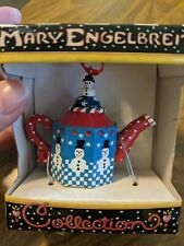 Vintage Mary Engelbreit Mini Teapot Ornament Blue and Red Snowman