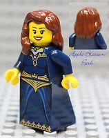 NEW Lego Dark Blue FEMALE MINIFIG Pirate Castle Kingdom Princess Brown Hair Girl
