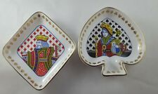 Set of 2 Spode Bone China Trinket/Snack Dishes King of Diamonds Queen of Spades
