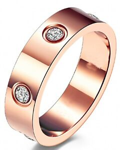 Men Women stainless steel love ring band rose sliver gold box High Quality 5-6mm