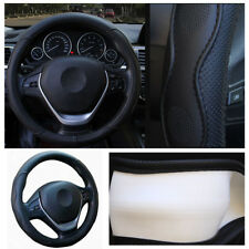 Black PU Leather Four Seasons Car Steering Wheel Cover No Fade Skid-proof Design