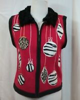 BECHAMEL Sweater Vest Women's Holiday Animal Print Christmas Ornaments Size PM