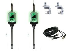 Lot of 2 Sirio Bull Trucker 3000 3/8 Antennas Green LED!, 18' DUAL COAX, MOUNTS