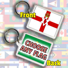 Northern Ireland Irish Flag & Any Country Nam-Sin Gift Keyring Fob 45 x 35 mm