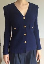Adolfo Saks 5th Fifth Avenue 1970s Navy Blue Blazer Jacket Top Gold Buttons