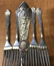 """Set of 6 PEARL 1898 Reed & Barton Silverplated Dinner Forks 7 1/2"""" Art Nouveau"""