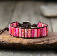 Natural Beaded Oblong Jasper Wrap | Cuff Leather Bracelet, Chakra Bracelets Pink