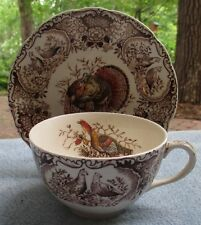 Johnson Brothers Windsor Ware Woodland Wild Turkeys Brown Cup Saucer Set ENGLAND