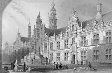 NETHERLANDS - LEYDEN :  TOWN HALL - Engraving from 19th century