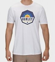 Hurley Mens T-Shirts White Size Small S Crewneck Logo Printed Graphic Tee- 212