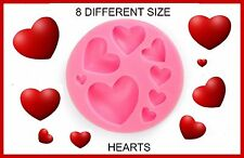 HEART SILICONE MOULD. 8 SIZE,S. PERFECT FOR FONDANT SUGAR CRAFT.CHOCOLATE. ECT