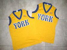 2 Vintage Lady Champion York Blue Yellow Basketball Jersey Tank Shirt Used 12 14