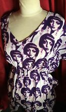 60s RETRO FACE PRINT FANCY DRESS COSTUME OUTFIT SIZE UK 8 PURPLE NEW KAFTAN