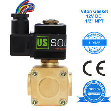 """U.S. Solid 1/2"""" Brass Electric Solenoid Valve 12V DC Normally Closed Air Water"""