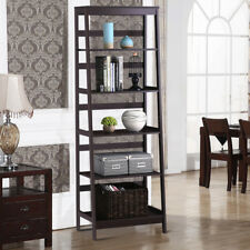 5-Tier Bookcase Bookshelf Leaning Wall Shelf Shelving Ladder Storage Display