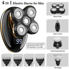 Kibiy 4 in1 Electric Men Shaver Rechargeable Wet/Dry Hair Trimmer Rotary Shaver