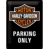 Blechschild HARLEY DAVIDSON Parking 30x40 cm gewölbt geprägt Biker Schild USA HD