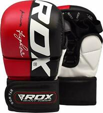 RDX MMA Leather Gloves, Martial Arts Training/Sparring, Red, Multiple Sizes