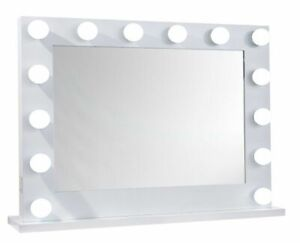 NICHES LED Lights & USB Port White Framed Dimmable Vanity Makeup Cosmetic Mirror