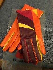 NEW LADIES MADOVA FIRENZE ITALY MULTICOLOR LEATHER CASHMERE LINED GLOVES   SZ 7