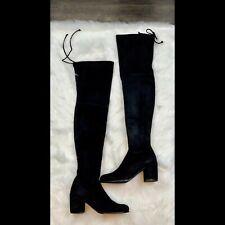 $798 New Stuart Weitzman Black Suede Tiemodel Over-The-Knee Boot Size 8.5