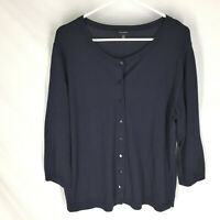 TALBOTS Navy Blue Cardigan Sweater Size XL 3/4 Sleeve Soft Comfort Womens