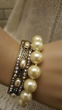 Heidi Daus  Simulated Pearl and Crystal Accent Bangle and Toggle Bracelets