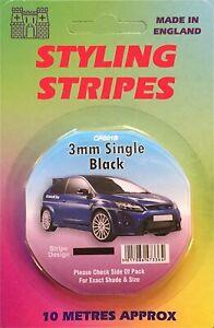 Black 3mm x 10mtr Self Adhesive Car Pin Stripe Coach Tape Syling Stripe