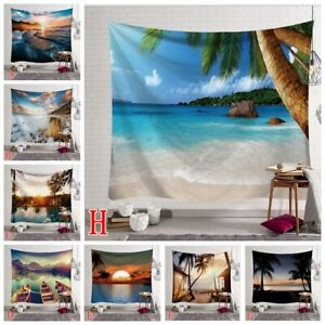 Sea Beach Scenery Tapestry Wall Hanging Hippie Tapestries Throws Background Deco