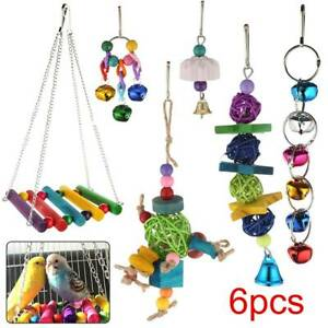 6 XParrot Toys Metal Rope Small Ladder Stand Budgie Cockatiel Cage Bird Toy Set