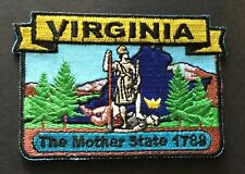 VIRGINIA STATE MAP IRON-ON PATCH, EMBROIDERED