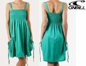 WOMEN'S O'NEILL SUMMER STRAPPY DAWN DRESS GREEN cotton ladies girls NEW