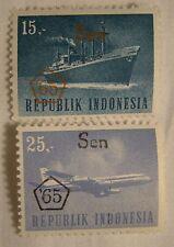 Indonesia Stamp Set 1965 Scott 660 & 662 Overprints Unused