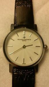 Vacheron Constantin Geneve Watch Waterproof 15atm. Black Leather Band. VGC.