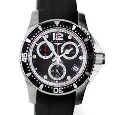 Longines Watch Hydroconquest Chronograph Black Dial 41mm Rubber Bracelet