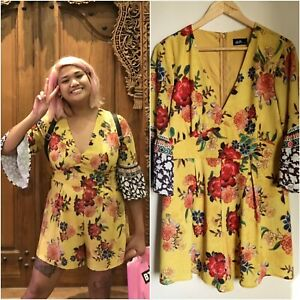 DOTTI yellow gold FLORAL ROMPER 14 JUMPSUIT bell slv RUFFLE gr8 FIT cute AS NEW