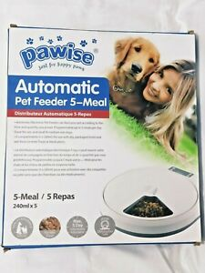 Pawise Automatic Pet Feeder 5 Meal Trays Dogs & Cats Dry Wet Food Batteries incl