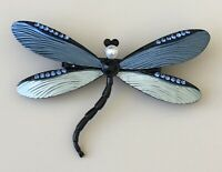 Unique blue  Dragonfly  brooch  Pin enamel on metal.with crystals