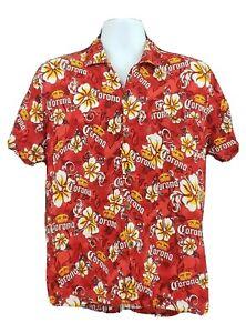 Corona Beer Mens Hawaiian Floral Aloha Camp Shirt Sz M Red Button Front A02