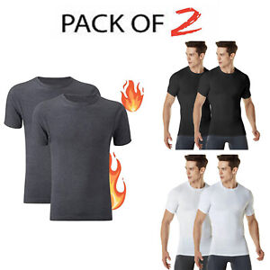 Pack of 2 Mens Thermal T Shirt-Thermal Top Short Sleeve Lightweight for Men