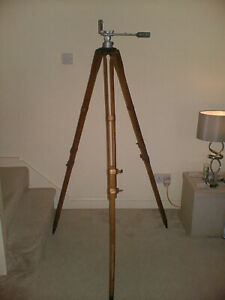 RARE VINTAGE USCE WOOD AND METAL TRIPOD JOHNSONS OF HENDON 64 INCHES HIGH NICE