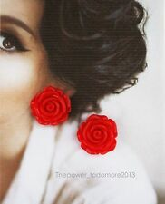 Orecchini Large Vintage Red Rose Clip on Earrings Retro Rockabilly Pin Up Style