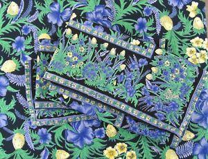 April Cornell Square Reversible Border Tablecloth and 4 Napkins Purple Thistle
