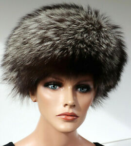 Fourrure Bonnet Renard Argenté Chapeau Mode fuchs Femmes Head Bijoux Putz Nature