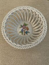 Herend Hungary Handpainted Open Weave Basket Bowl flowers 4 1/2 IN Vintage RARE